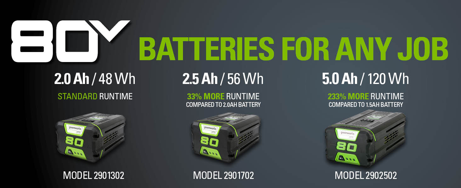 80 batteries battery 2.0Ah 2.5Ah 4.0Ah 5.0Ah 2901302 2901702 2902502