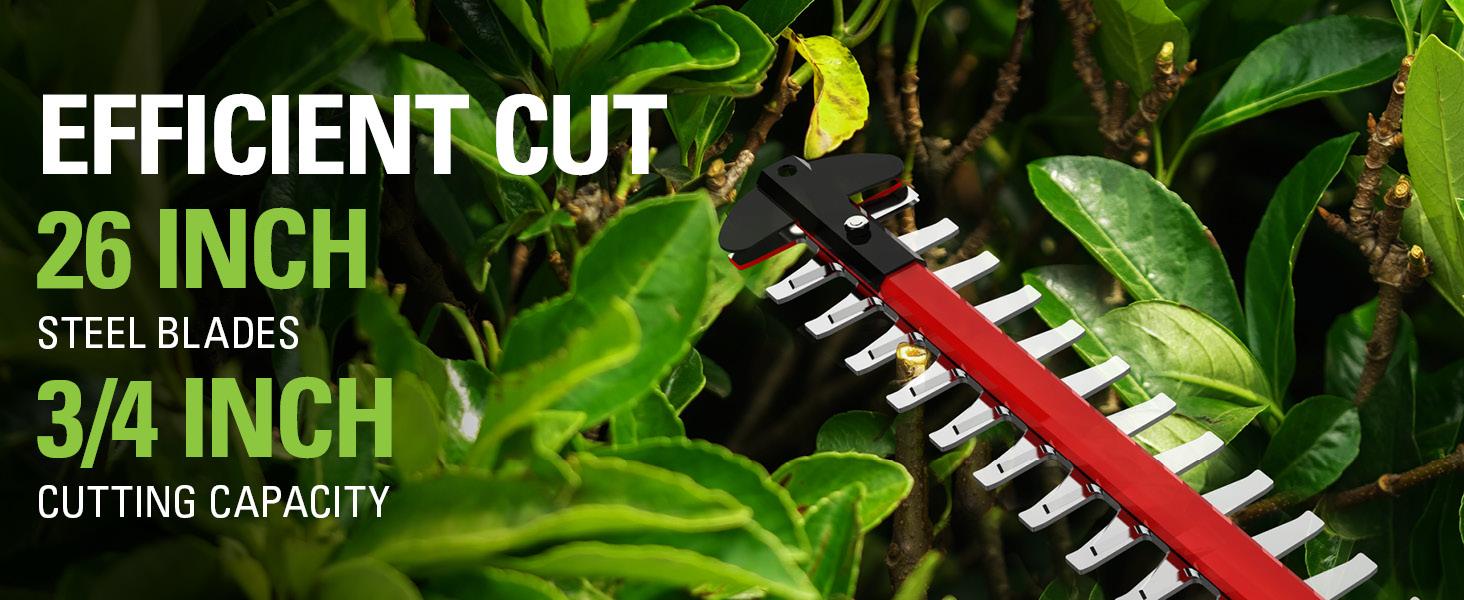 26 inch steel blades 3/4 inch cutting capacity