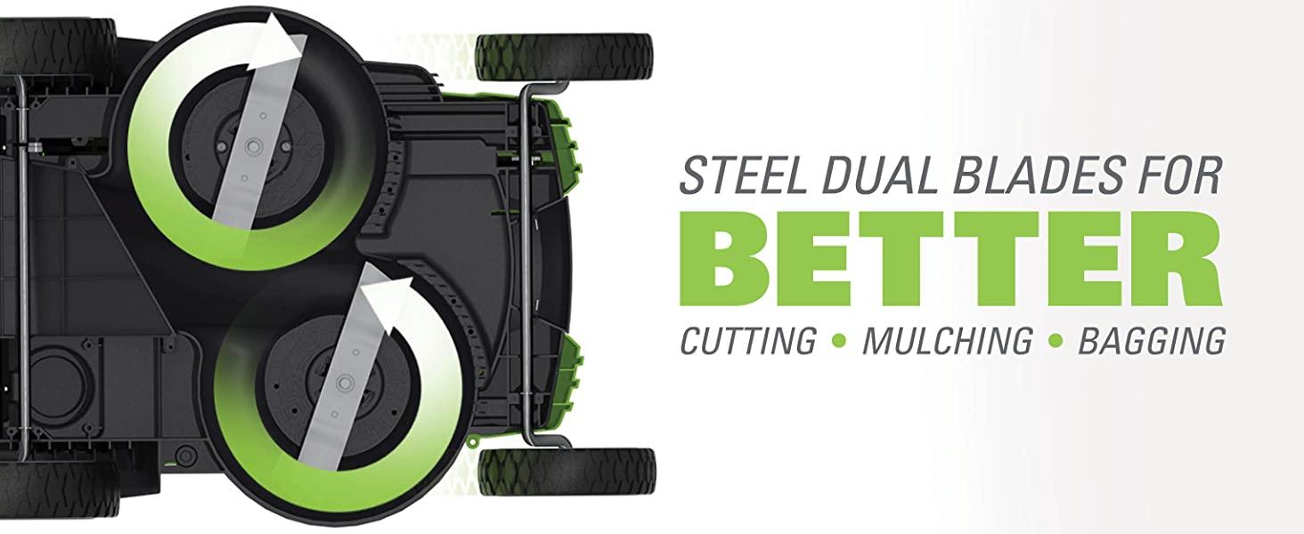 steel dual blade better cutting mulching bagging