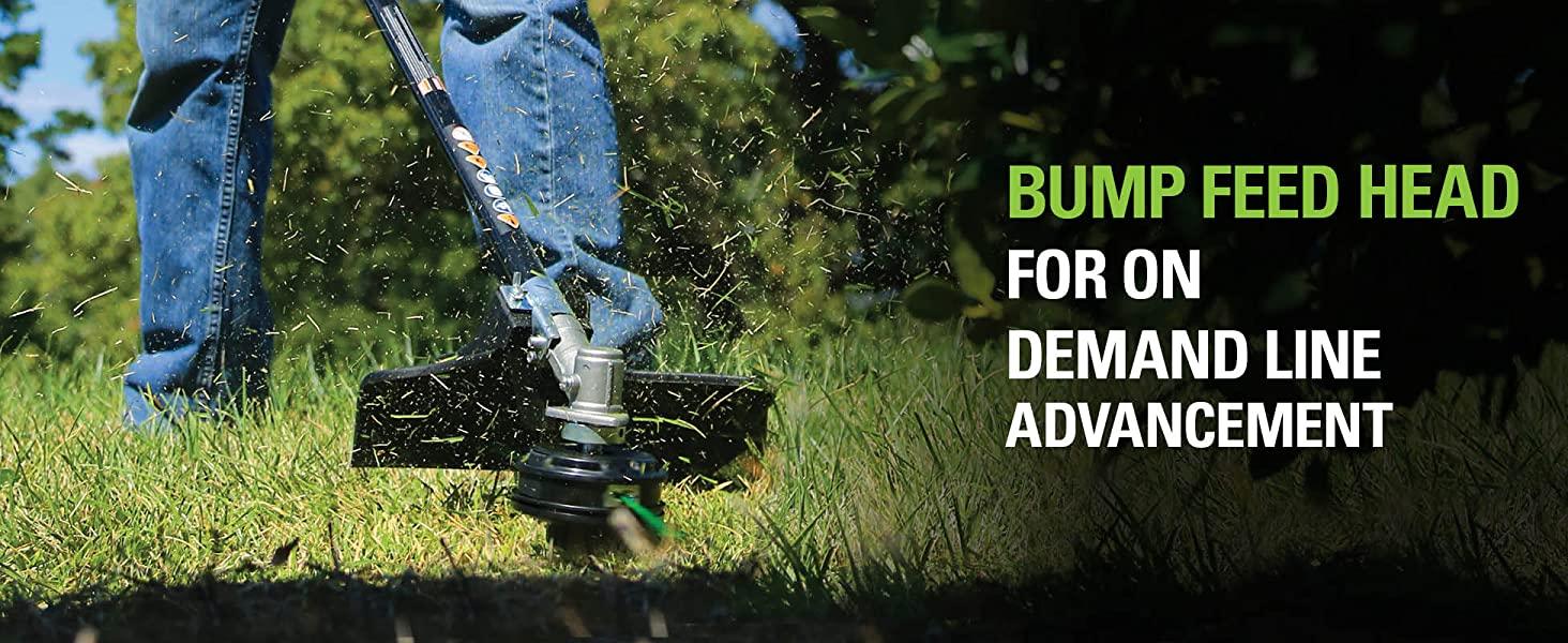 bump feed head for demand line advancement