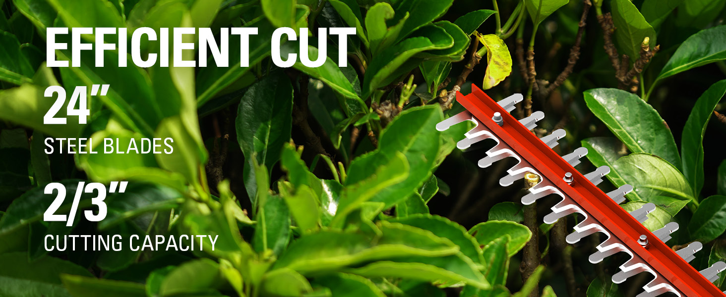 24 inch steel blades 2/3 inch cutting capacity
