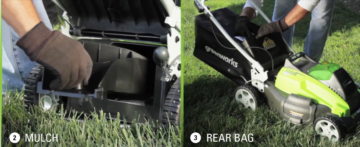 3 in 1 mowing versatility side discharge mulch rear bag