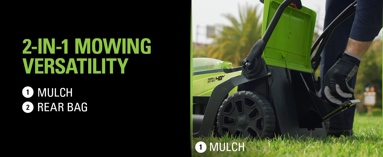 mowing versatility mulch rear bag