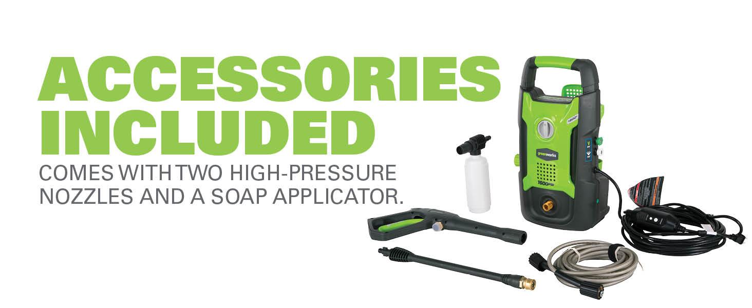 accessories included high pressure nozzles soap applicator