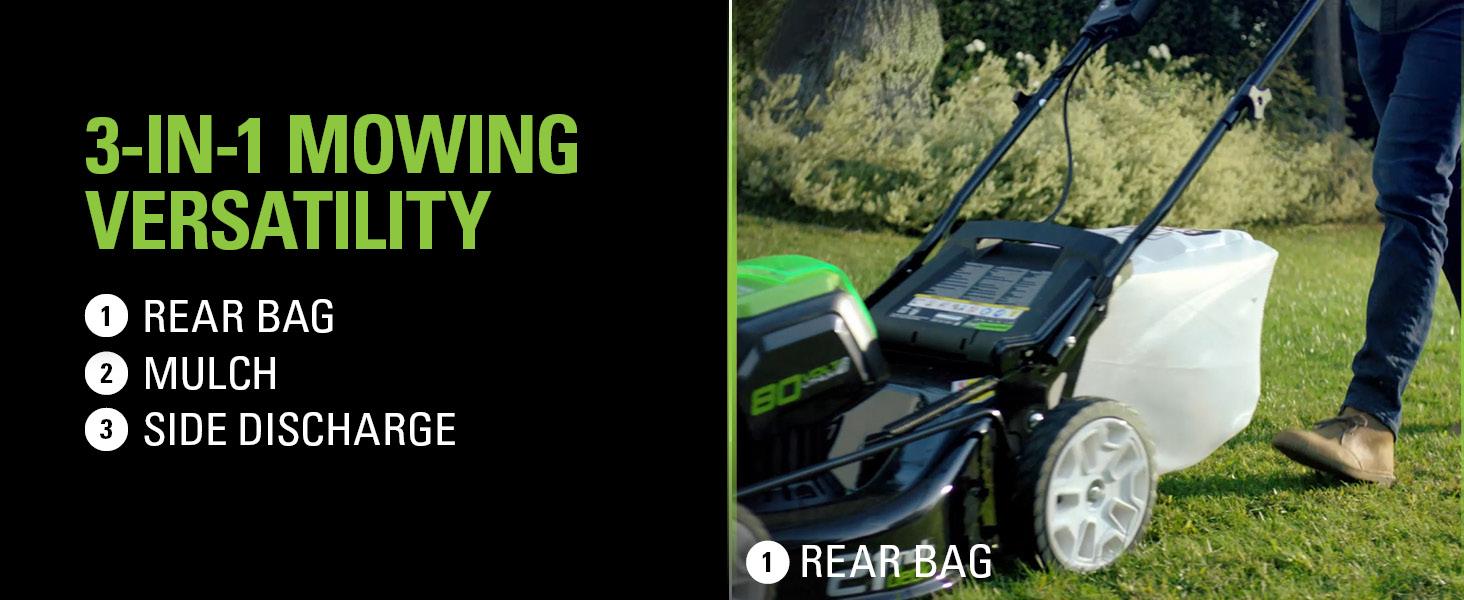 3-in-1 mowing versatility