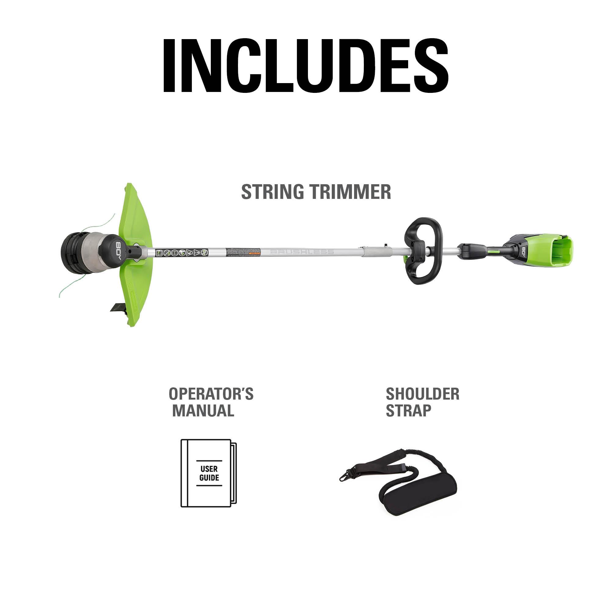 includes shoulder strap manual string trimmer